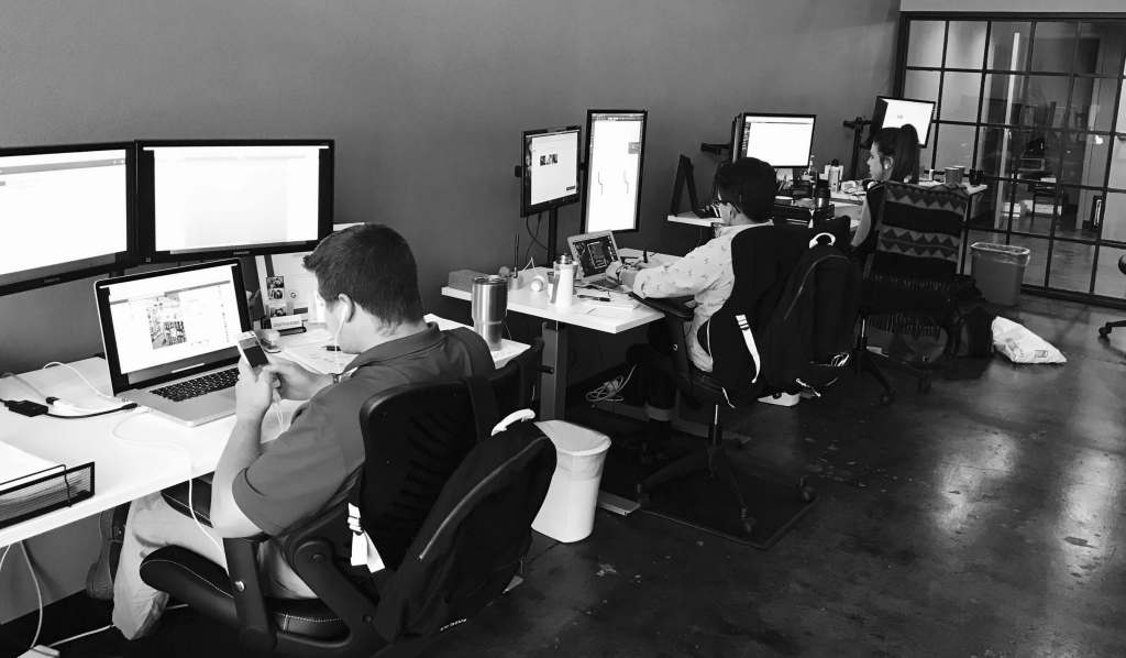 digital logic team working on small business online marketing campaigns