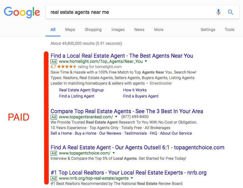 paid ads on search engines screen shot on google search results of realtor paid search advertising