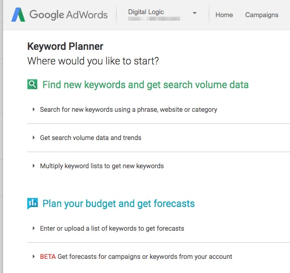 search engine advertising and google keyword planner screen shot