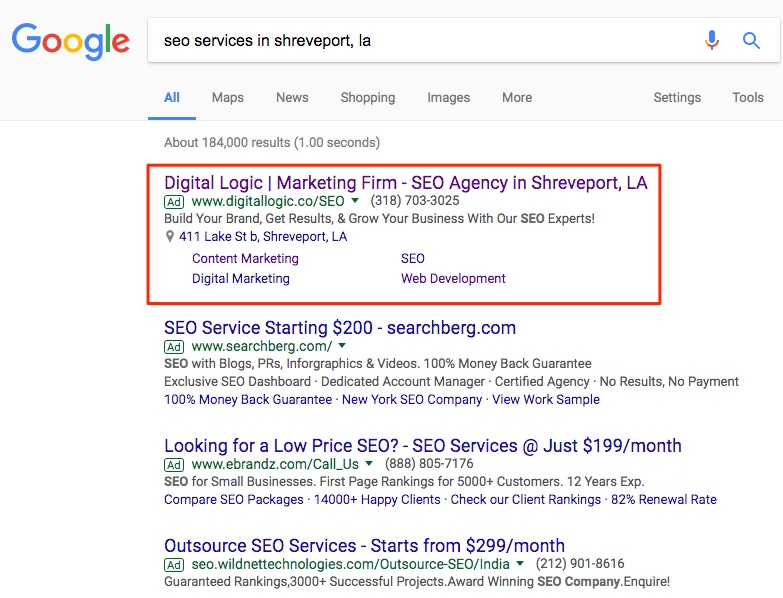 seo for small businesses google search results with location extensions and sitelink extensions by digital logic in shrevpeort louisiana