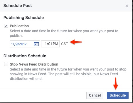 how to schedule a facebook post by selecting date and time