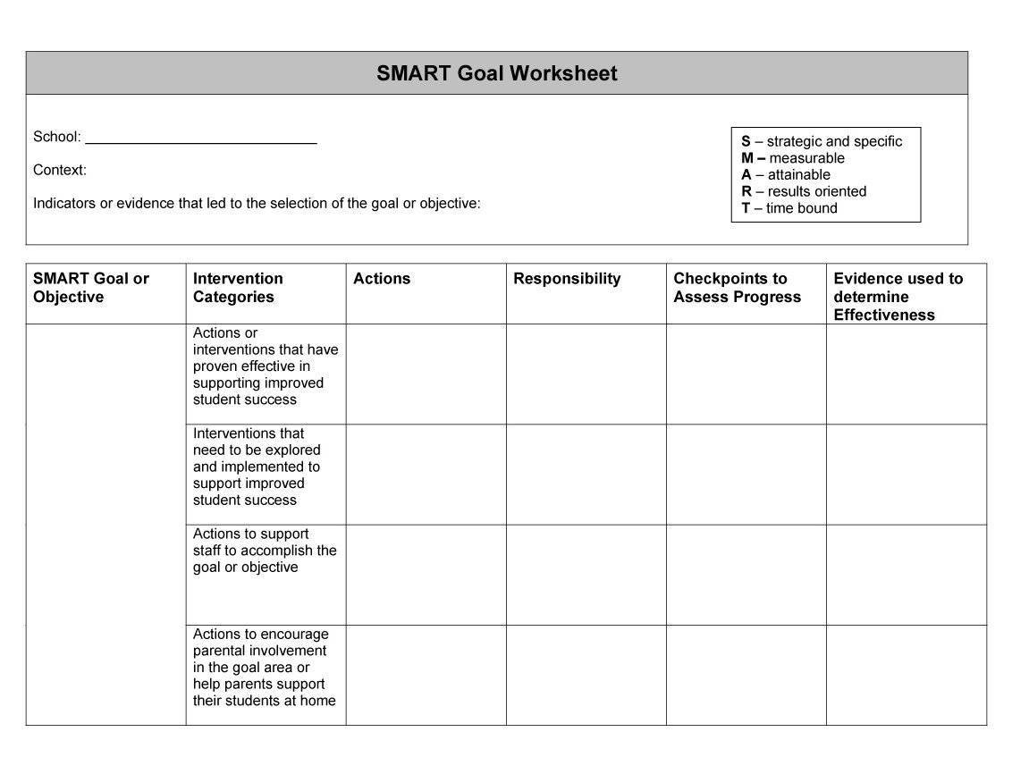 Smart Goals Template Worksheet