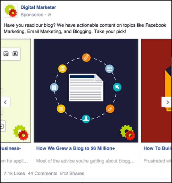 Third panel of a Facebook Carousel Ad to Blog Content