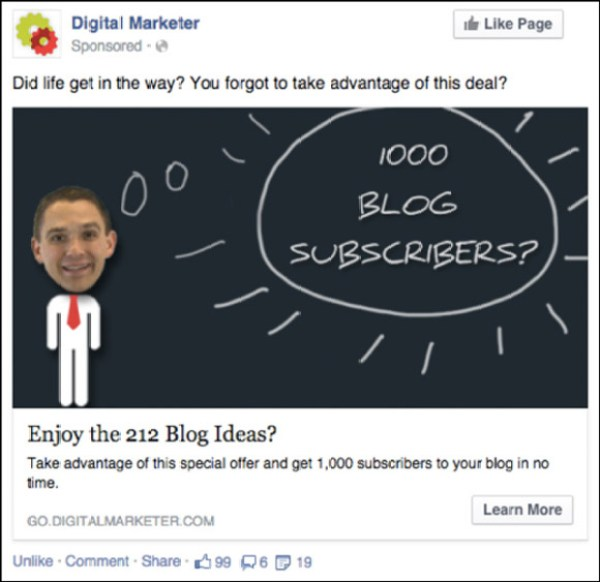 Facebook Retargeting Ad to a Low-Dollar Product