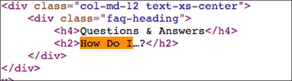 code showing an H2 headline