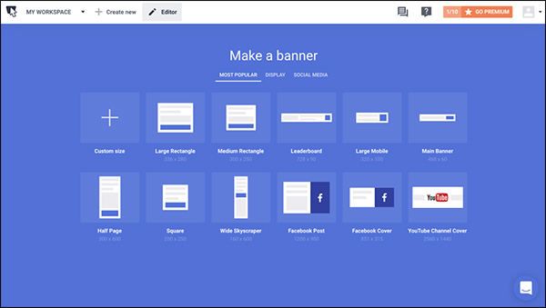 the different template offers from Bannersnack