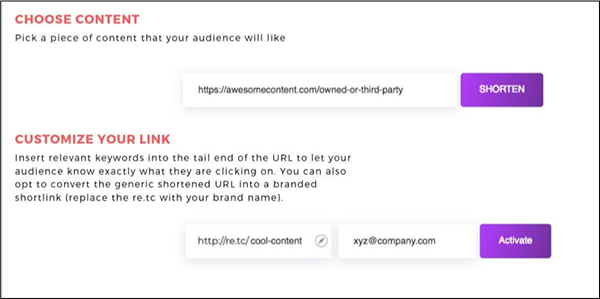 shortening your link with link retargeting