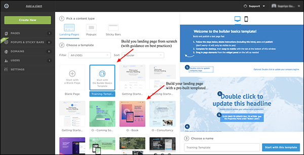 showing different options in Unbounce to make landing pages