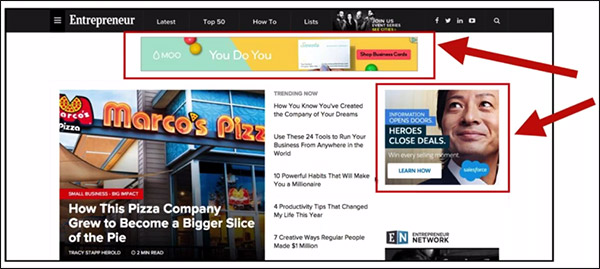 pointing to two different banner ads around a web page