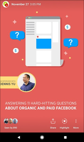 An example of a DigitalMarketer Instagram Story that highlights an interview with Dennis Yu