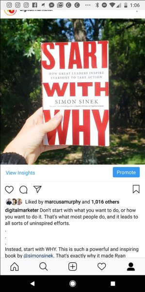 """Instagram post picture of a book: Simon Sinek's """"Start With Why""""  14 Digital Marketing Experts Share Their Marketing Home Run of 2018 digital marketing home run img31"""