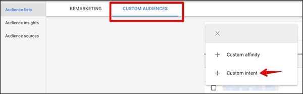 Under Custom Audiences chose to create a custom intent audience