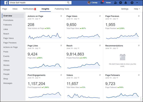 Facebook page insights for Whole Self Health