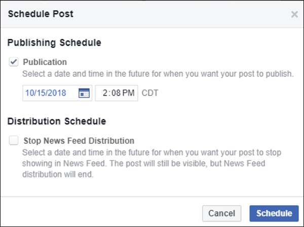 pick what time your social post will publish