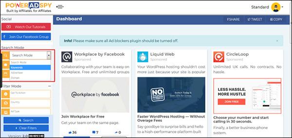 PowerAdSpy Social Media Marketing tool
