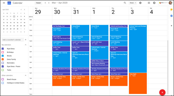 Ryan's complete schedule