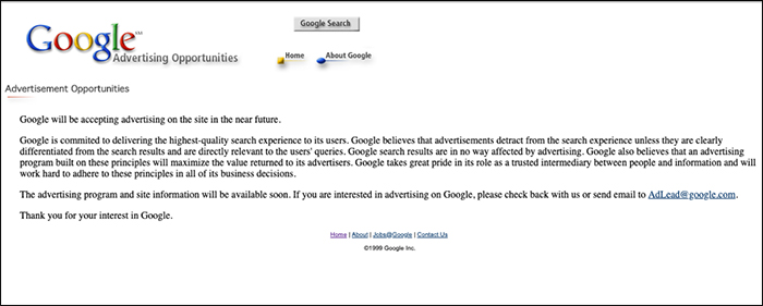 The Google Advertising page before Google Adwords was launched