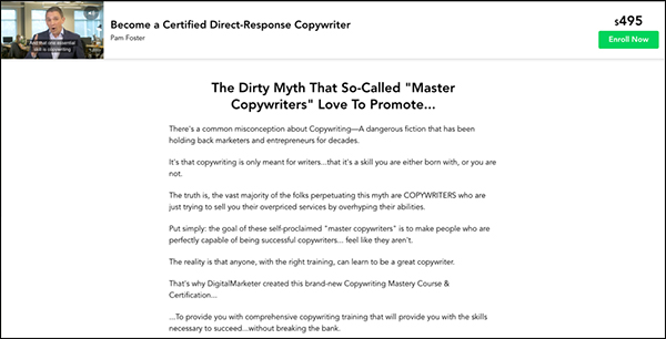 The DigitalMarketer copywriting Cert landing page