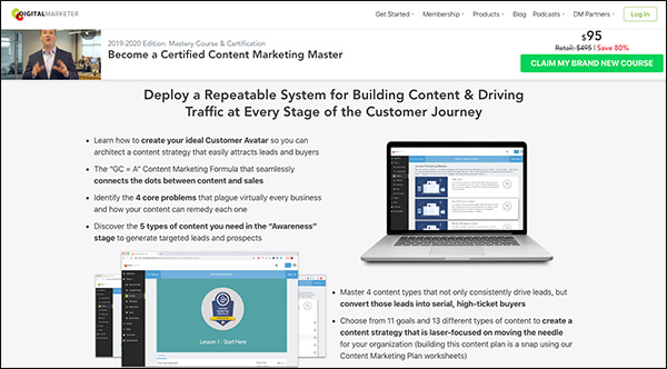 Example of copywriting from a DigitalMarketer landing page