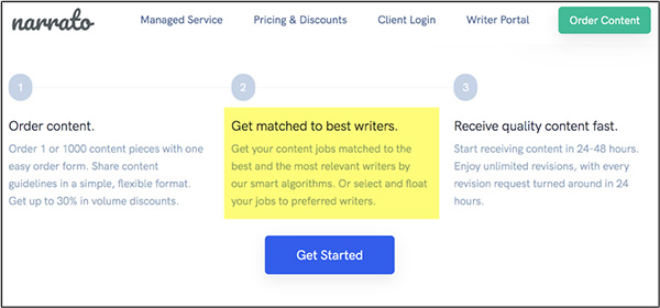 Narrato is an AI that will help marketers find good content writers for their needs