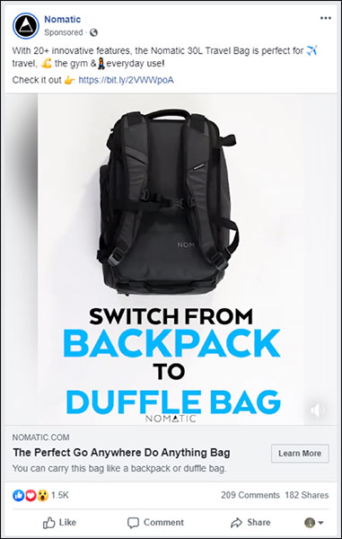 A Nomatic ad for a backpack that shows the evolution of marketing