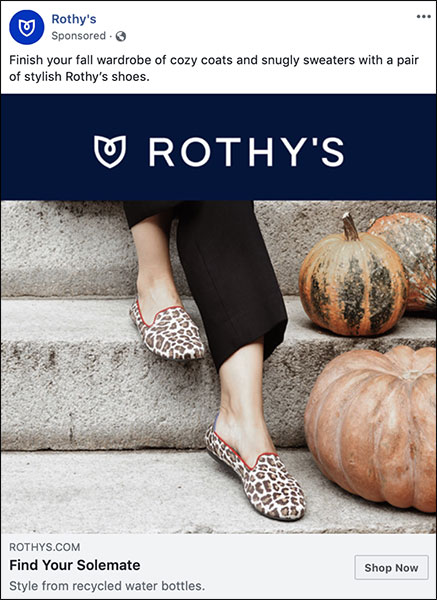 Rothy's ad that has a fall theme for their seasonal marketing strategy