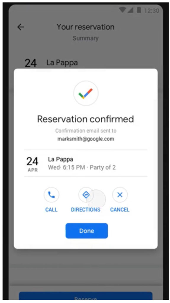 An example of making a reservation online through Google