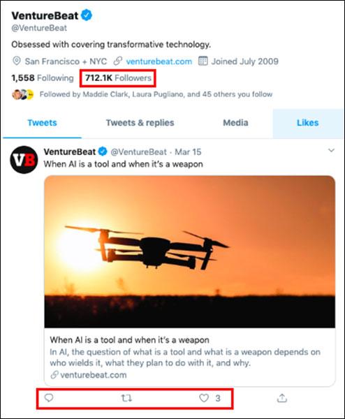 Comparison of followers vs. likes for VentureBeat