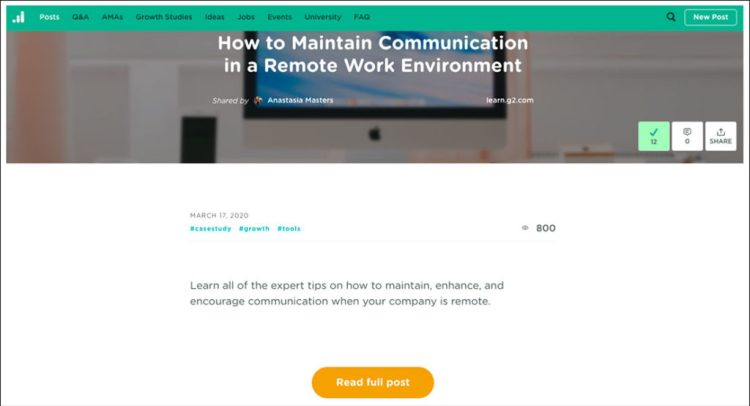Blog article on How to maintain communication in a remote work environment