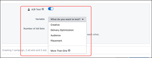 The Facebook A/B test options