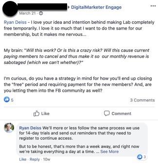 Facebook community post