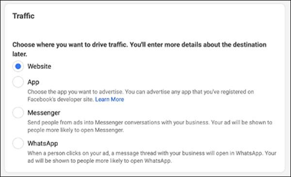Facebook Traffic options