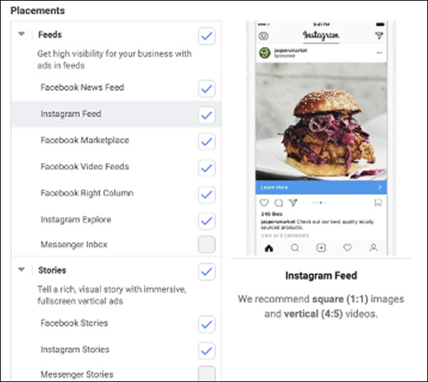 Facebook placement options