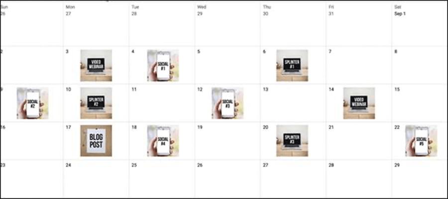 an example of a content calendar
