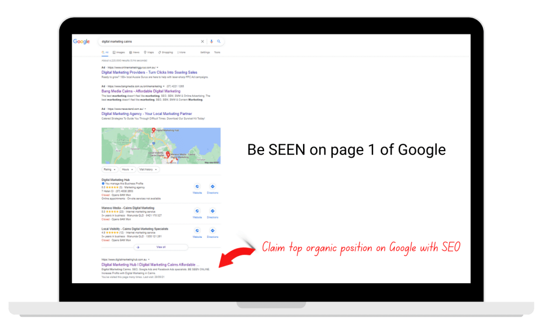 Google Search Engine Ranking Page