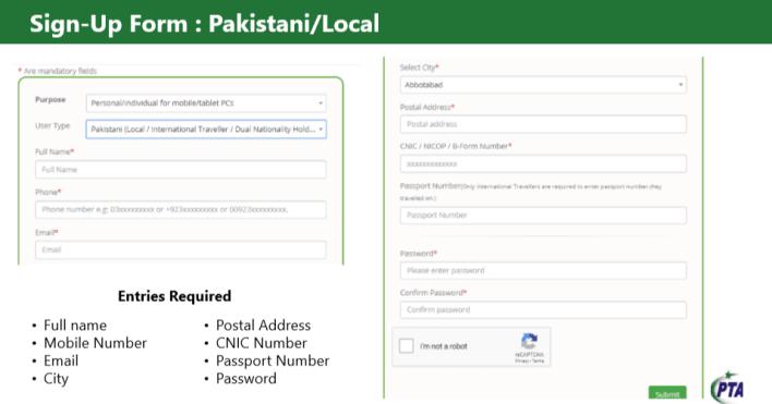 get NOC for import mobile PTA Sign-UP form
