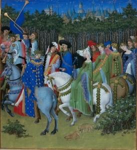 Très Riches Heures du Duc de Berry calendar image for May, MS 65 in the Musée Condé, Chantilly, France