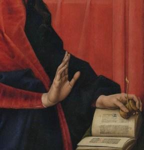 "Detail from Hans Memling Annunciatior showing a ""book light"""