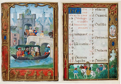May from the Golf Book manuscript showing a boating scene on one page and the calendar of holy days and feasts for May on the other page