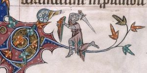 Marginalia from the British Library Gorleston Psalter showing a knight fighting a snail
