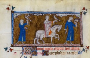 An image from Queen Mary's Psalter calendar page for May British Library Royal 2 B VII f. 75v showing a labor of May; two courtiers hawking, one of the mounted with a hawk in hand, two on foot bearing hawks.