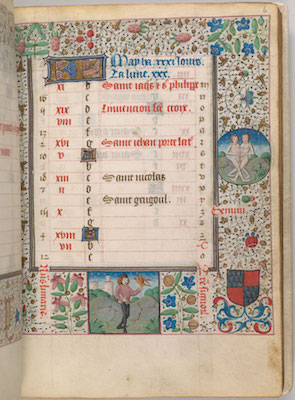 The calendar page for May from the Hours of Pierre de Bosredon,France, Langres, ca. 1465 The Morgan Library