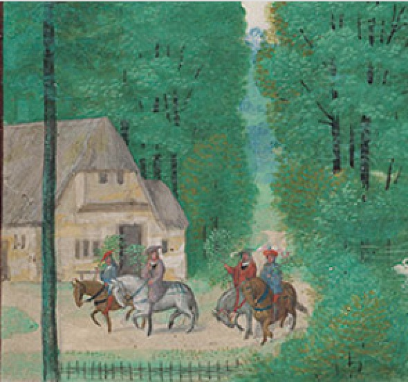 Detail from the Morgan library's Da Costa Hours calendar page for May showing a spring scene of four people on horse back, thre of them carrying green boughs