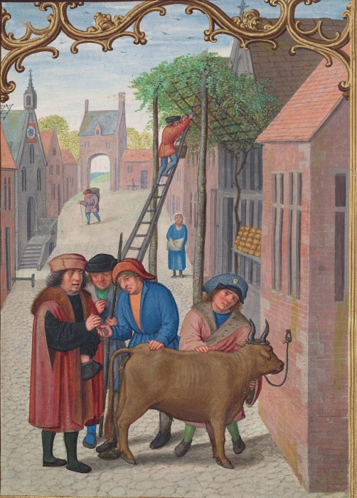 A village scene on a cobblestone street showing three men haggling over an ox, a woman watching a man on a ladder harvesting grapes