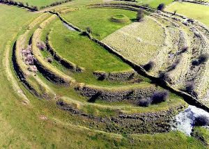 Concentric stone circles, ruins of the Ringfort at Rathrá, Co Roscommon, Ireland