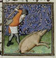 Image of a hog being butchered from a book of hours calendar page for December