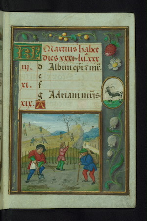 March calendar image from Walters Museum W.425