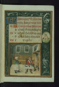 Walters Art Museum, W.425, fol 1r the calendar image for January with a list of saints' days at the top and an image of a man before a table in front of the fire with a woman bringing a tray of food to the table