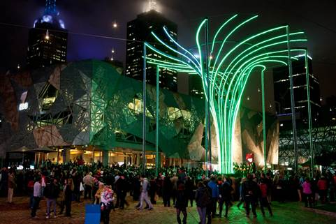 An Enormous Interactive Luminous Tree Of Steel Is