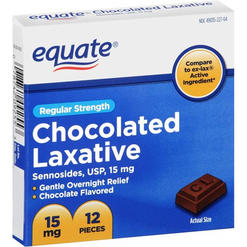 equate exlax chocolate laxative rats